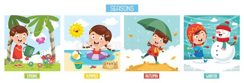 dodatkowa tła elementów spadek ilustracja odizolowywał sezonów wiosna lato wektoru biel zima ilustracja wektor