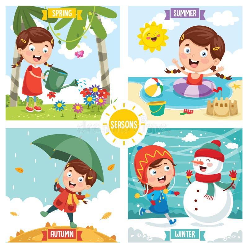 dodatkowa tła elementów spadek ilustracja odizolowywał sezonów wiosna lato wektoru biel zima royalty ilustracja