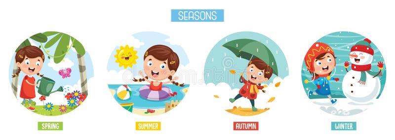 dodatkowa tła elementów spadek ilustracja odizolowywał sezonów wiosna lato wektoru biel zima ilustracji
