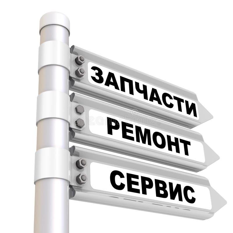 Dodatkowe części, naprawa, usługa Drogowy znak Przekładowy tekst: «Dodatkowe części, naprawa, usługa « royalty ilustracja