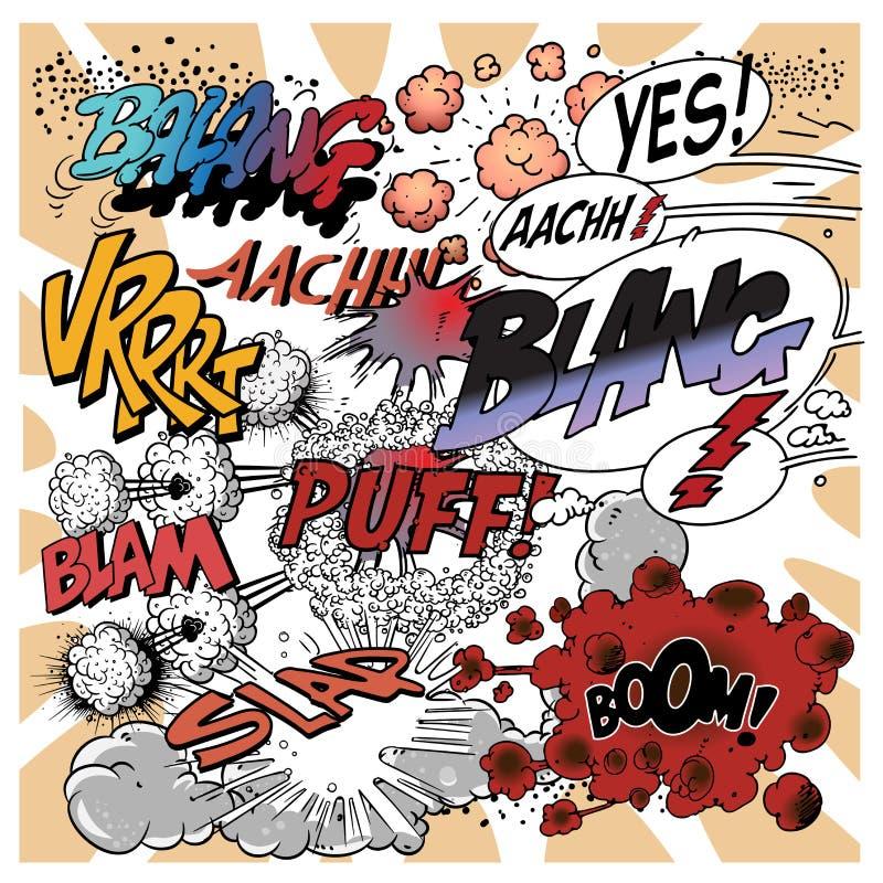 8 dodatkowy książkowy komiczki eps wybuchów formata ilustratora wektor ilustracji