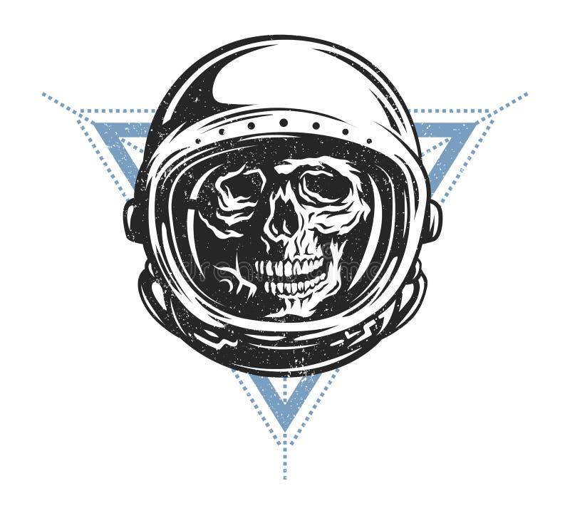 Dode astronaut in spacesuit stock illustratie