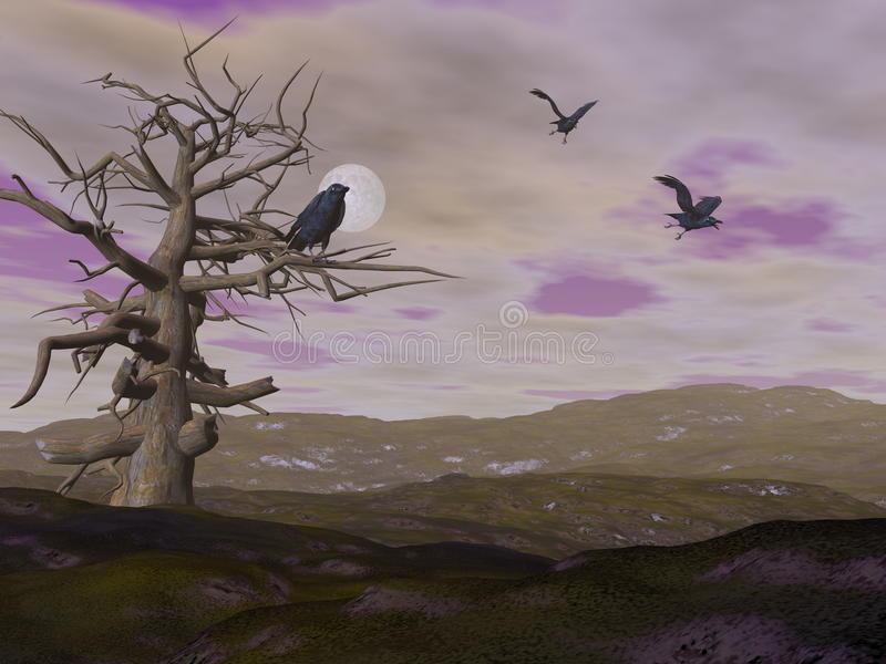Dode boom en kraaienraaf 's nachts - 3D geef terug stock illustratie
