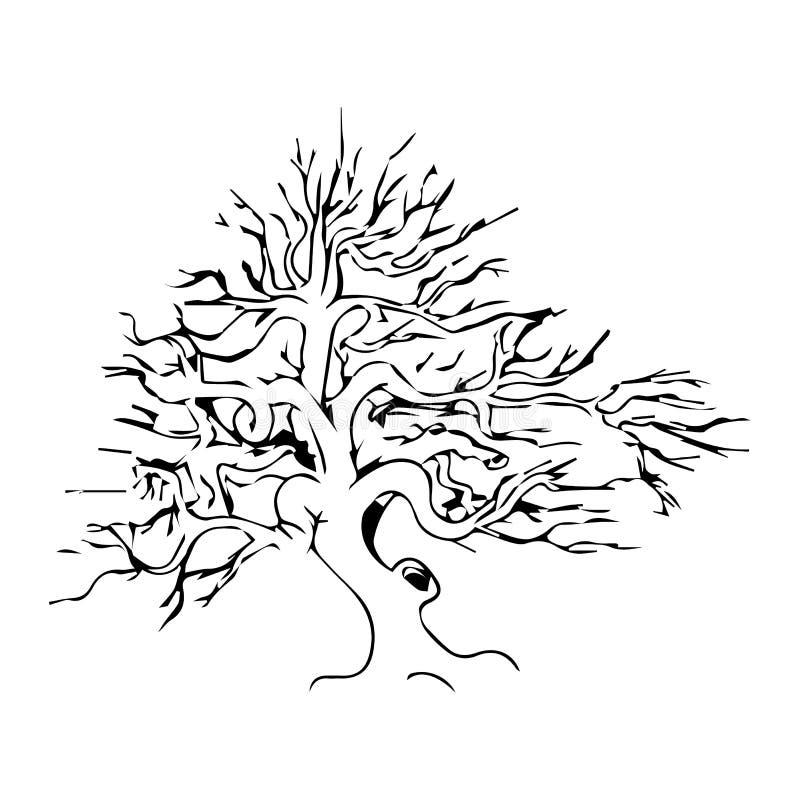 dode boom zonder geschetste bladeren vectorillustratie