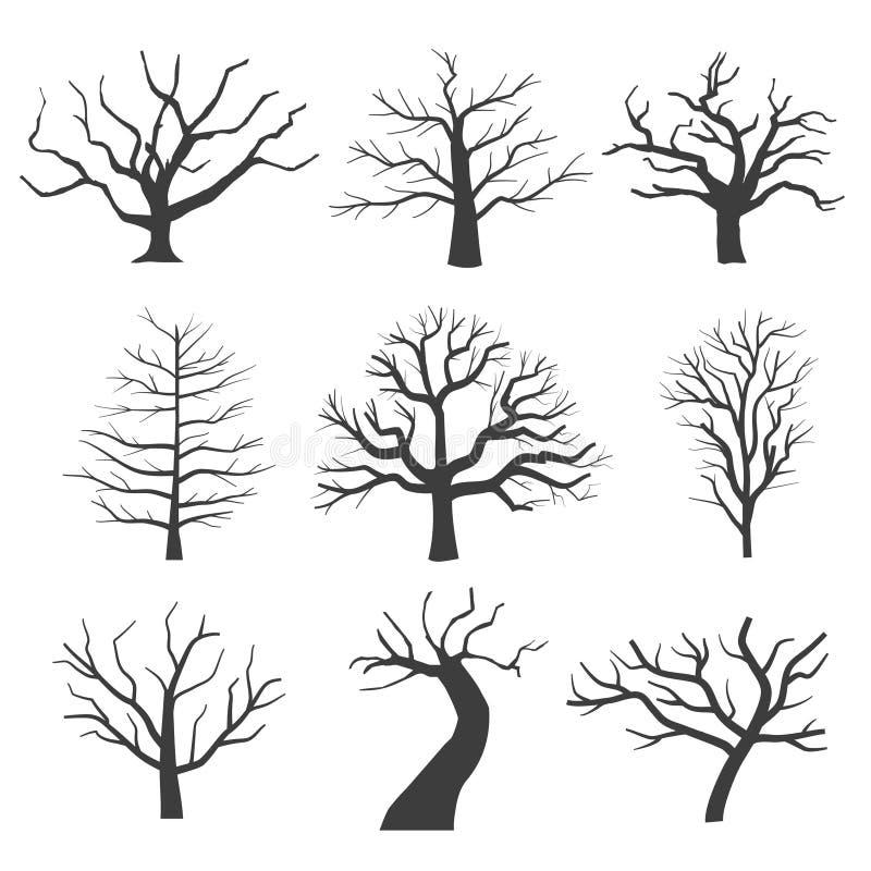 Dode boomsilhouetten Het sterven zwarte enge bomen bos vectorillustratie stock illustratie