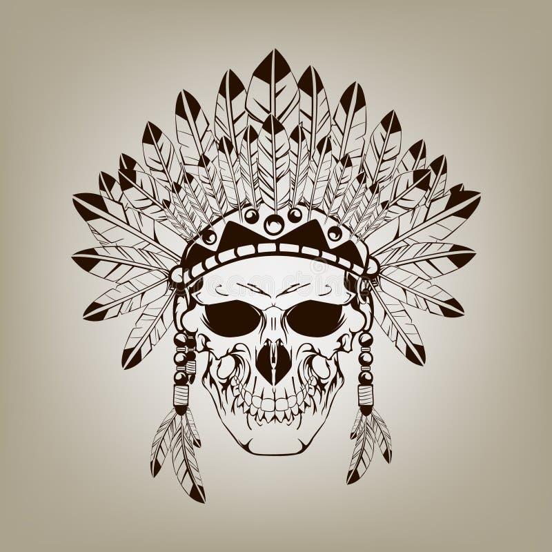 Dode Indische belangrijkste schedel vector illustratie
