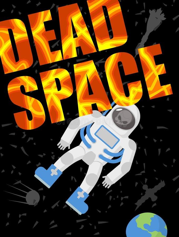Dode ruimte De astronaut stierf Schedel in een spacesuit Zwart heelal vector illustratie