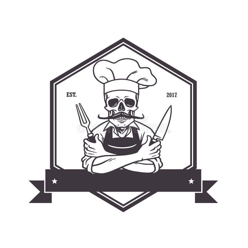 Dode Schedelchef-kok Grinning met voor, Knive, en Hoed Het malplaatje van het restaurantembleem Hexagon Vectortekening royalty-vrije illustratie