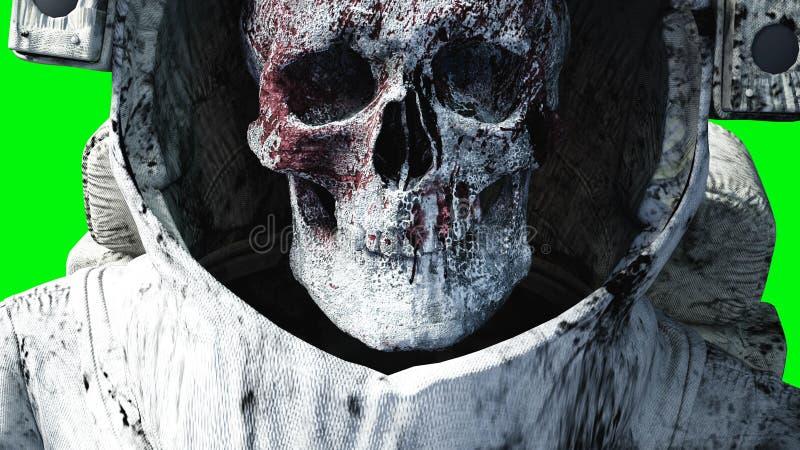 Dode zombieastronaut in ruimte cadaver Het groene scherm het 3d teruggeven stock illustratie