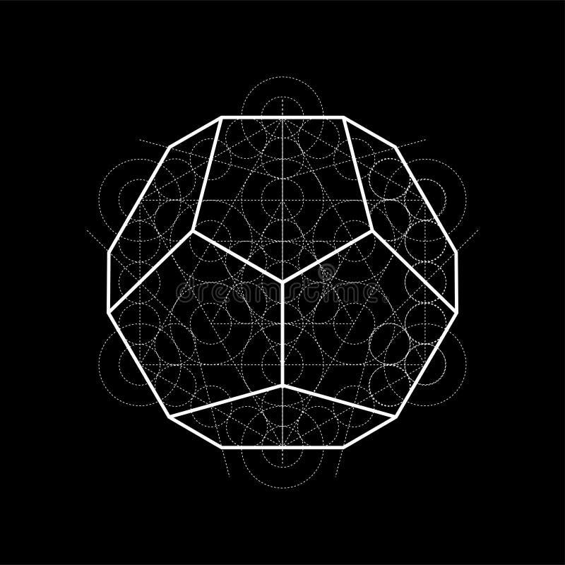 Dodecahedron do cubo de Metatrons, ilustração sagrado da geometria com linhas da construção no preto ilustração stock