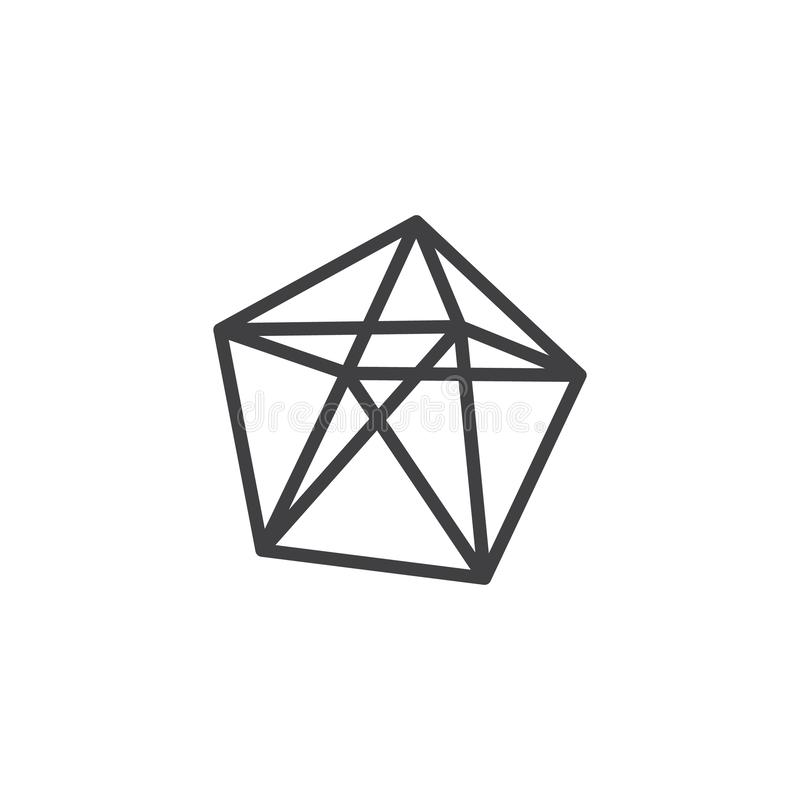 Dodecahedron geometrical figure outline icon. Linear style sign for mobile concept and web design. Dodecahedron geometric shape simple line vector icon. Symbol royalty free illustration