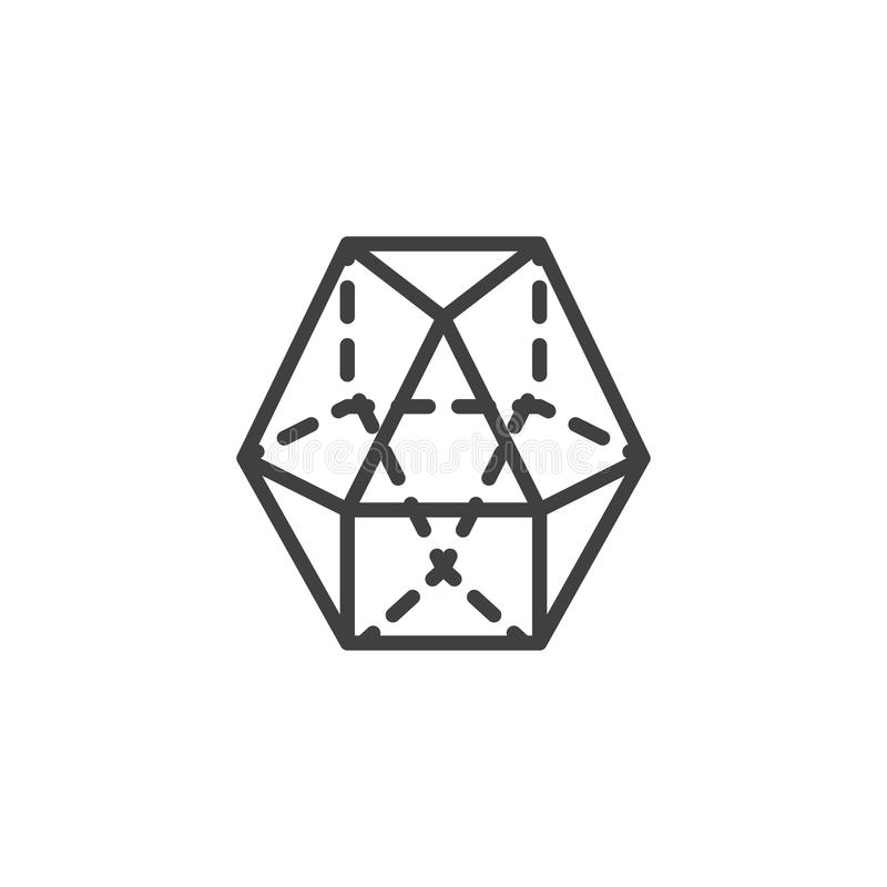 Dodecahedron geometrical figure outline icon. Linear style sign for mobile concept and web design. Dodecahedron geometric shape simple line vector icon. Symbol vector illustration