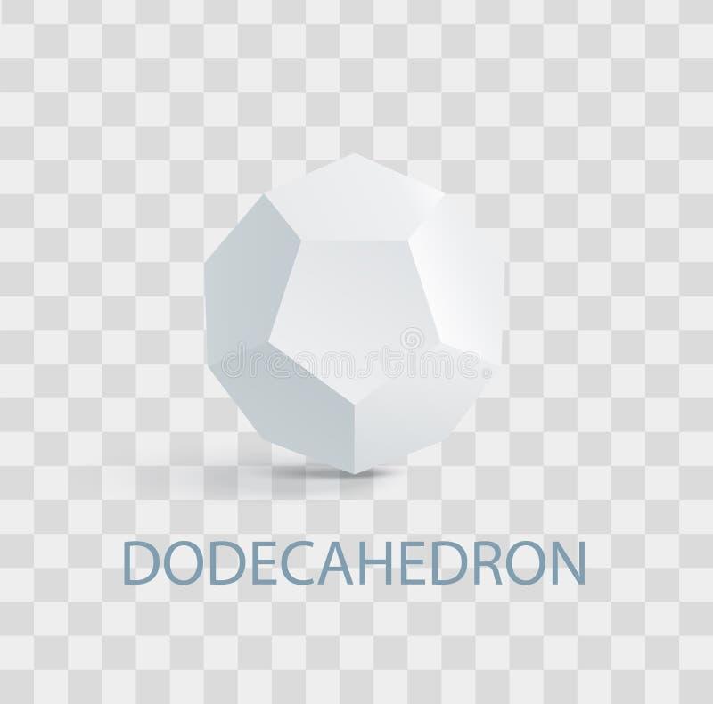 Dodecahedron ha complicato la figura geometrica bianca royalty illustrazione gratis