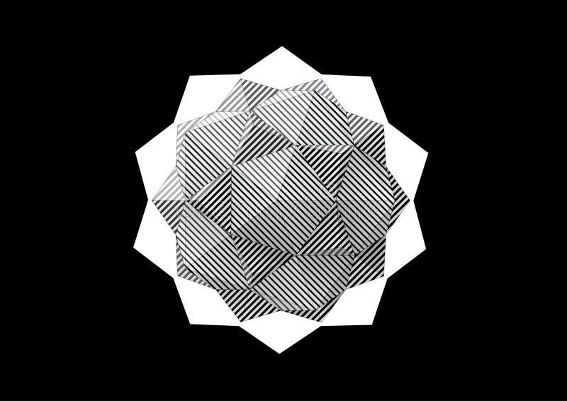Dodecahedron-Icosahedron avec les visages rayés noirs et blancs illustration de vecteur