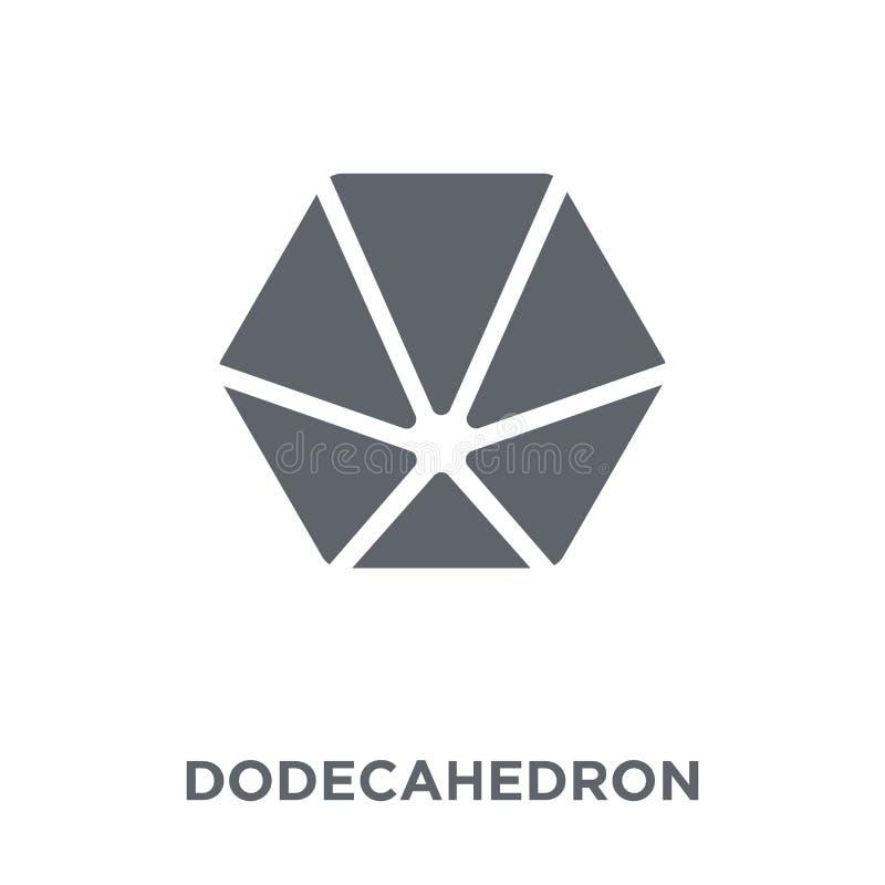 Dodekaedr ikona od geometrii kolekcji ilustracja wektor