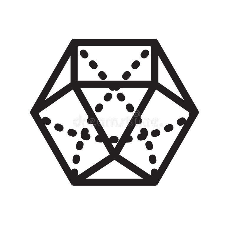 Dodekaedr ikony wektoru znak i symbol odizolowywający na białym backg ilustracji