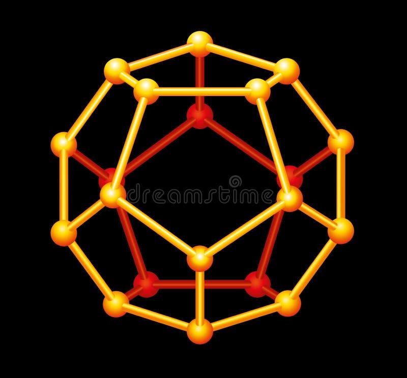 Dodekaedru Złocisty Trójwymiarowy kształt zdjęcia royalty free