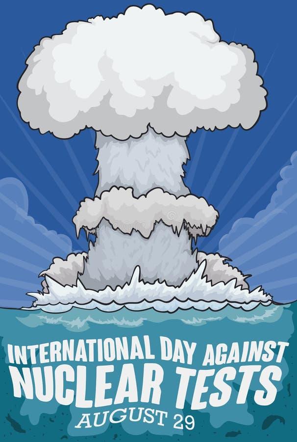 Dodelijke Onderwaterkernproef voor Internationale Dag tegen Kernproeven, Vectorillustratie stock illustratie