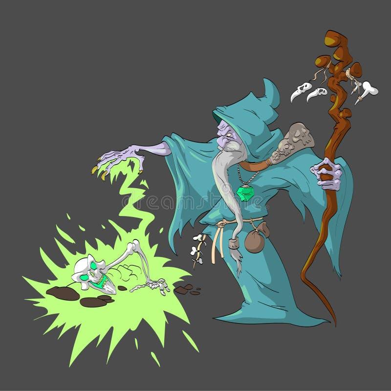 Dodenbezweerder die een dood skelet met magisch toenemen vector illustratie