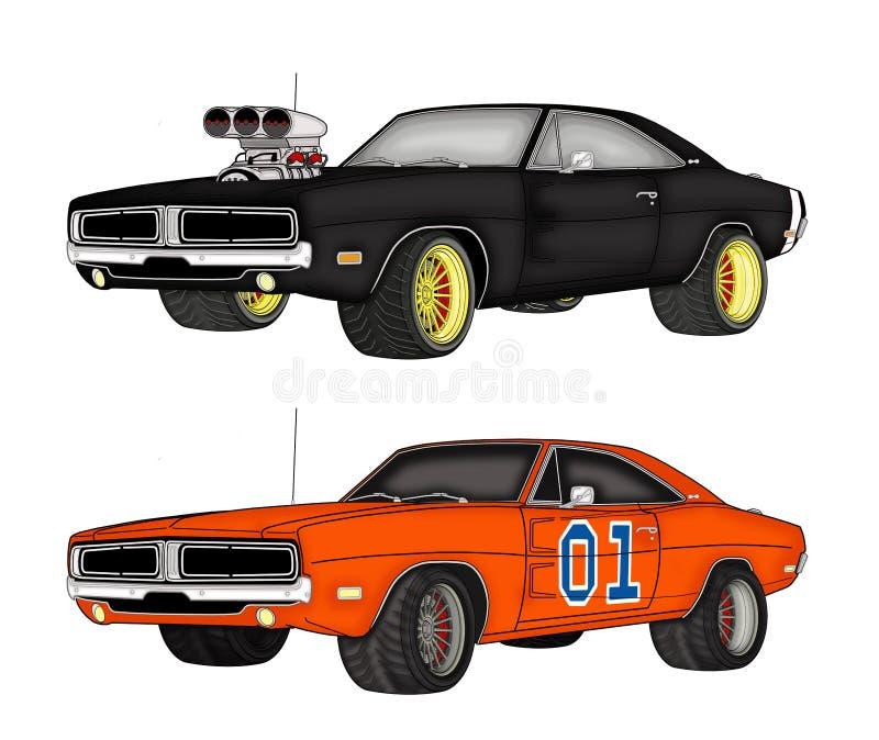 Dodge bilar vektor illustrationer