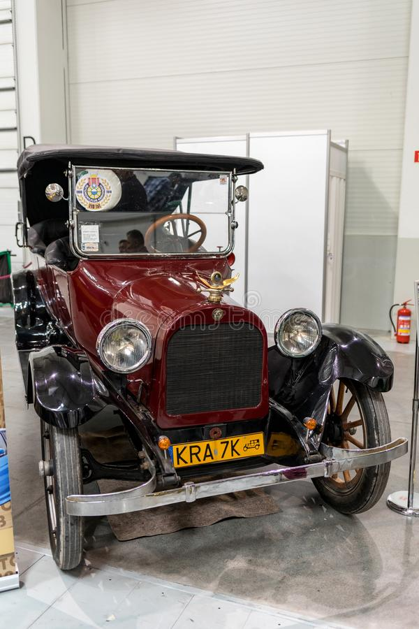 Dodge Brothers at Moto Show in Krakow. Produced in 1917. The world`s first car with a body made completely of steel. Cracow, Poland - May 18, 2019:  Dodge stock photography