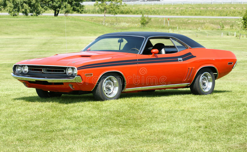 Dodge challenger. Picture of the orange dodge challenger with black stripes royalty free stock photo