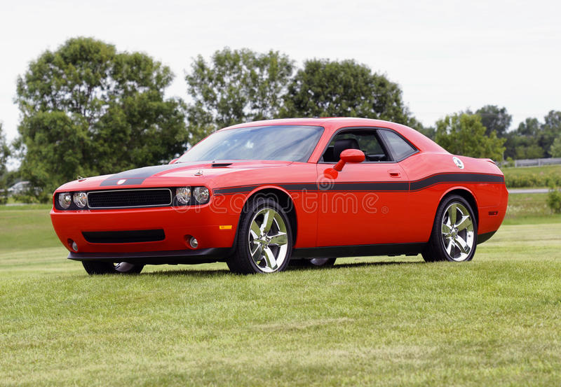 Dodge challenger. Picture of the orange dodge challenger rt stock photography