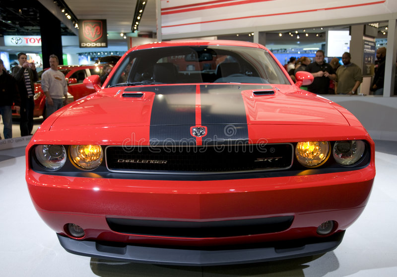 Dodge Challenger. 2009 Dodge Challenger head on view, presented at the 2009 North American International Auto Show royalty free stock photo