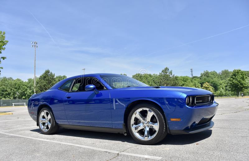 Dodge Challenger 2019 Model. Side view of a  2019 Royal Blue Dodge Challenger with a Hemi V8 engine stock images