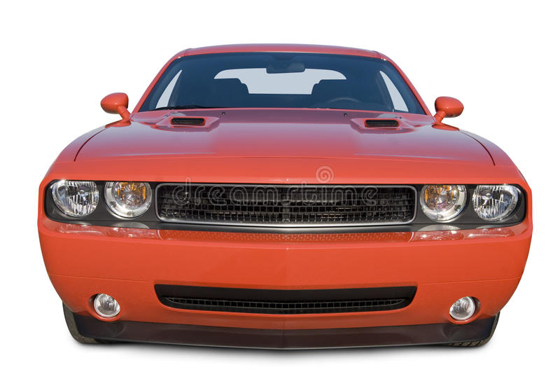 Dodge Challenger Muscle Car. A photograph of a Dodge Challenger Muscle Car isolated on white. Clipping path on vehicle. All logos removed. See my portfolio for royalty free stock images