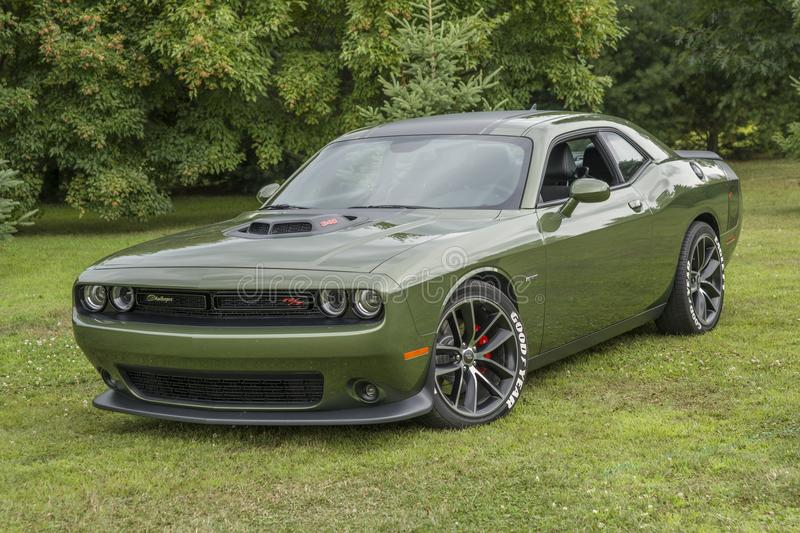 Dodge challenger. Picture of dark green dodge challenger during convention chrysler at st liboire august 4-5 2018 stock photos