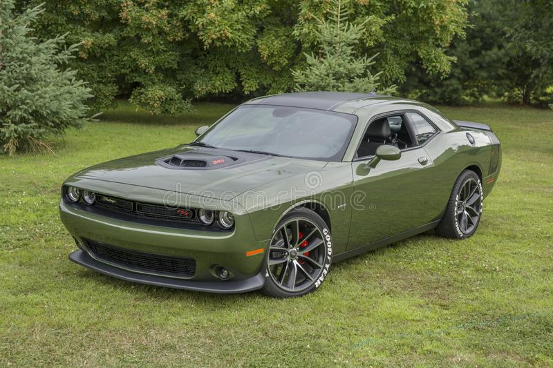 Dodge challenger. Picture of dodge challenger on the grass during convention chrysler at st liboire august4-5 2018 stock images