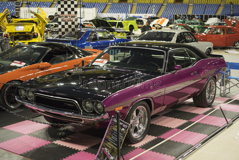Dodge challenger. Picture of pink dodge challenger in display during the autorama montreal october 1-2 2016 stock images