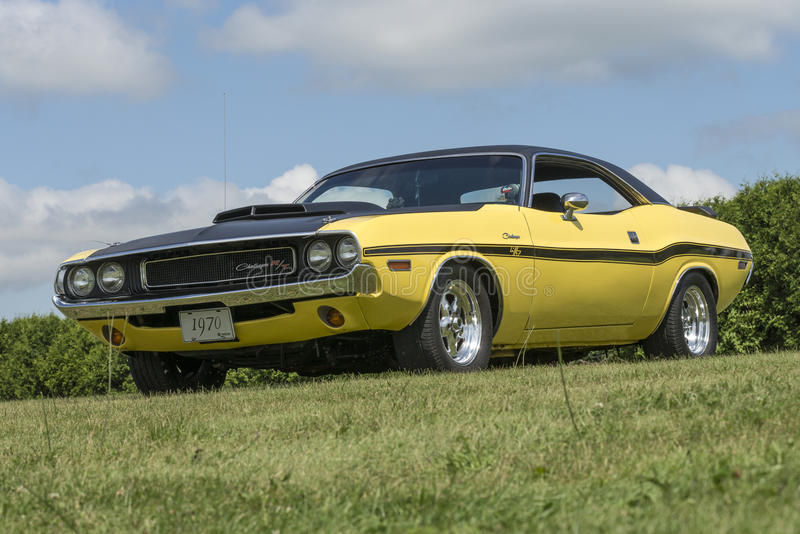Dodge challenger rt. St-liboire august 8, 2015 picture of yellow 1970 dodge challenger with black vinyl top sitting on the grass during car show royalty free stock photos