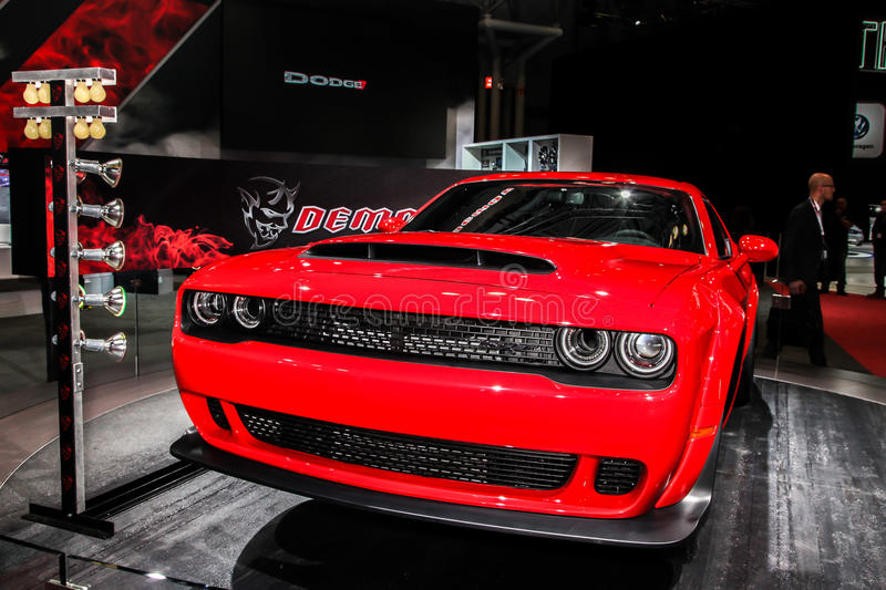 2018 Dodge Challenger SRT Demon. NEW YORK- APRIL 12: 2018 Dodge Challenger SRT Demon shown at the New York International Auto Show 2017, at the Jacob Javits royalty free stock images