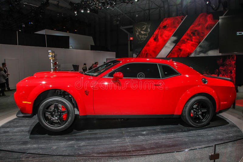 2018 Dodge Challenger SRT Demon. NEW YORK- APRIL 12: 2018 Dodge Challenger SRT Demon shown at the New York International Auto Show 2017, at the Jacob Javits stock photo