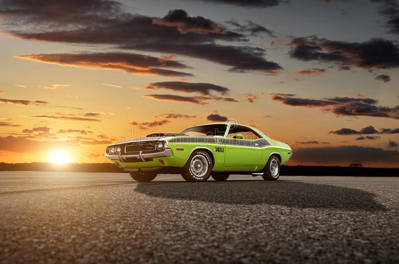 1970 Dodge Challenger T/A 340 Six Pak. A 1970 Dodge Challenger T/A 340 Six Pak at sunset royalty free stock images