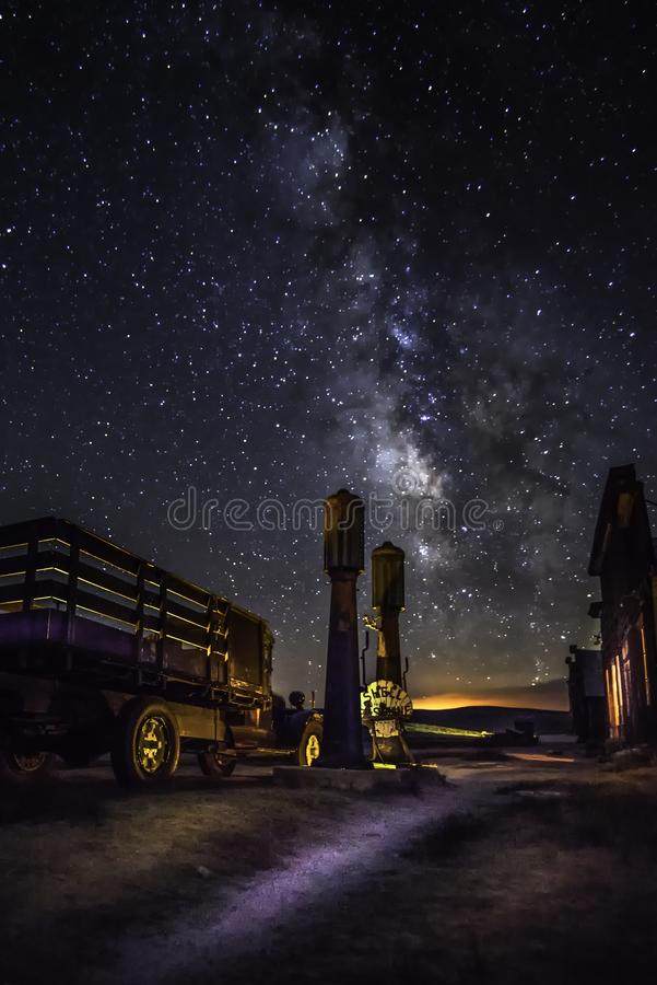 1927 dodge Graham truck in Bote ghost town and  milky way stock image