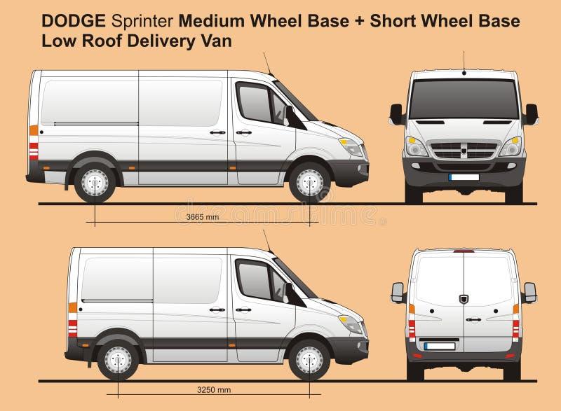 Dodge-Sprinter MWB und Dach-FrachtLieferwagen 2010 SWB niedriges stock abbildung