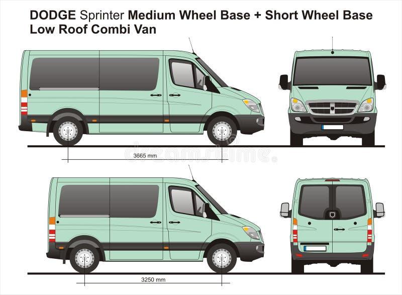 Dodge-Sprinter MWB und niedriges Dach Combi Van 2010 SWB lizenzfreie abbildung
