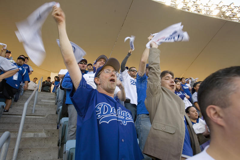 Dodger fans. Cheering during National League Championship Series (NLCS), Dodger Stadium, Los Angeles, CA on October 12, 2008 royalty free stock photos