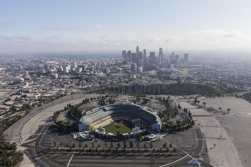 Dodger Stadium and Downtown Los Angeles Aerial royalty free stock photography