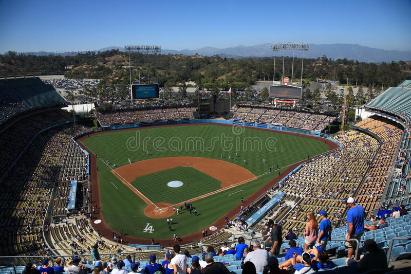 Dodger Stadium - Los Angeles Dodgers. Before a sunny day baseball game at Dodger Stadium, home of the Los Angeles Dodgers stock photo