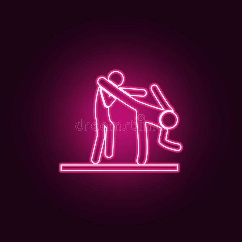 dodging icon. Elements of Fight in neon style icons. Simple icon for websites, web design, mobile app, info graphics stock illustration