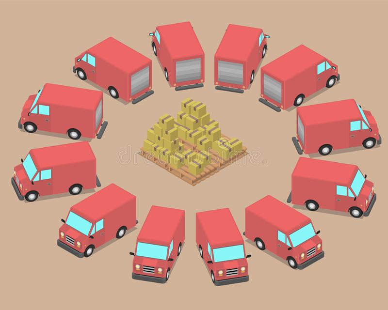 Dodici automobili identiche sono parcheggiate intorno alle scatole illustrazione vettoriale
