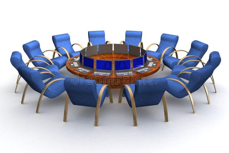 Dodici posti di lavoro dietro una tavola rotonda. illustrazione di stock