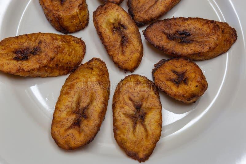 Dodo, llantén frito una comida deliciosa de Yoruba fotos de archivo