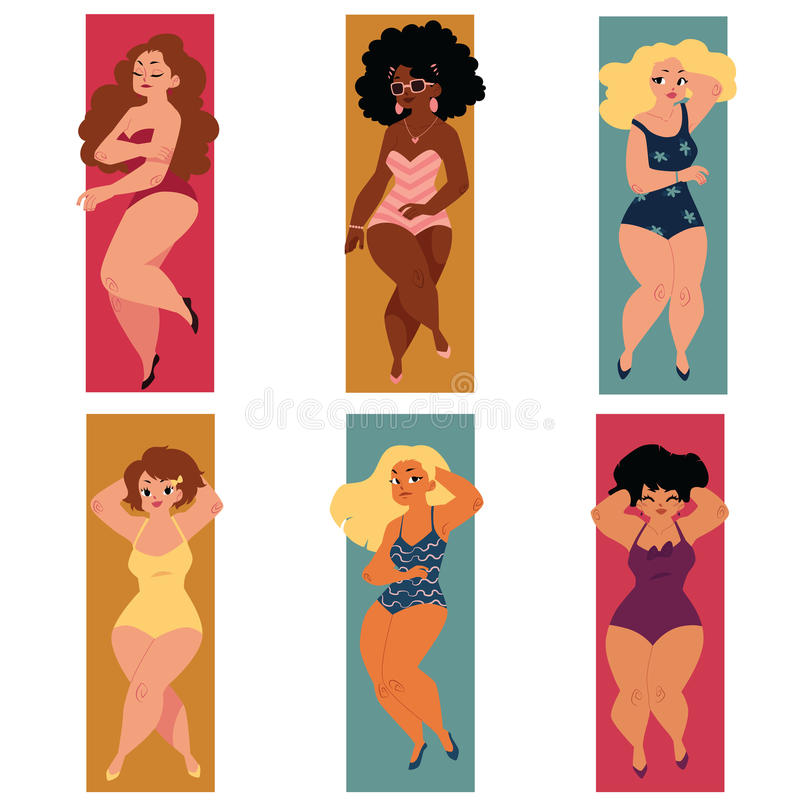 Dodu, de poids excessif, plus les femmes sinueuses de taille, filles dans des costumes de natation illustration stock