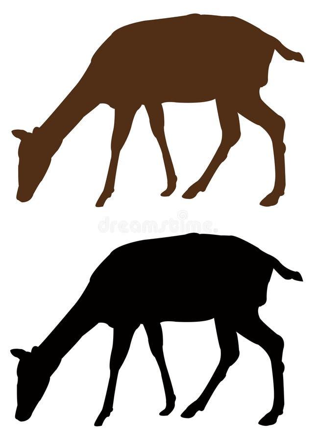 Doe- eller hjortkontur - traskat idisslande däggdjur stock illustrationer