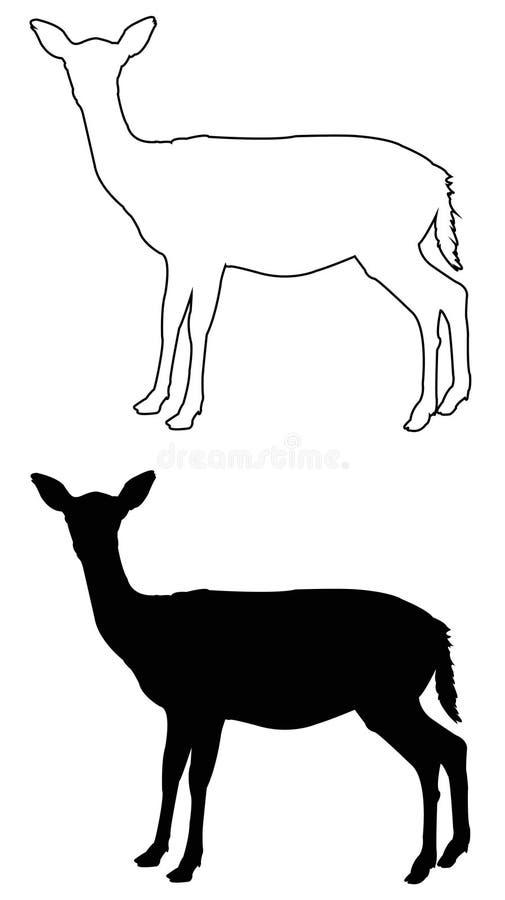 Doe- eller hjortkontur - traskat idisslande däggdjur vektor illustrationer